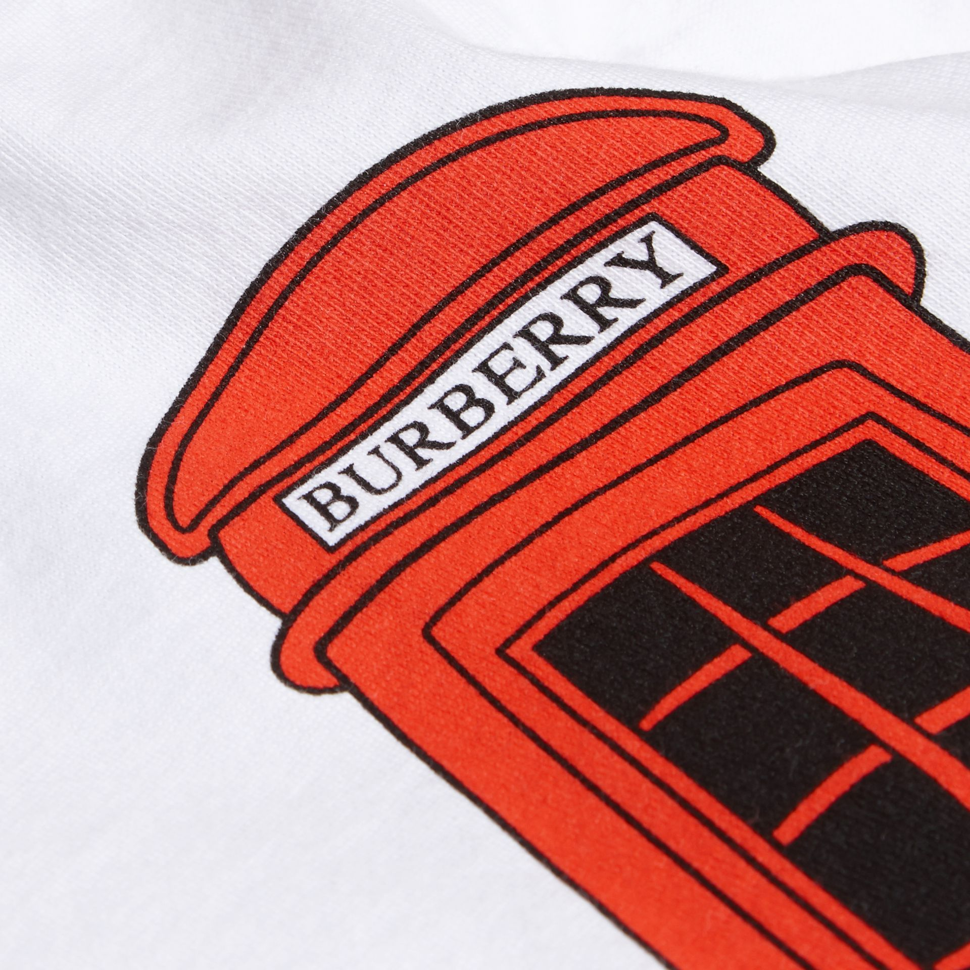 White Rocket Telephone Box Print Cotton T-shirt - gallery image 2