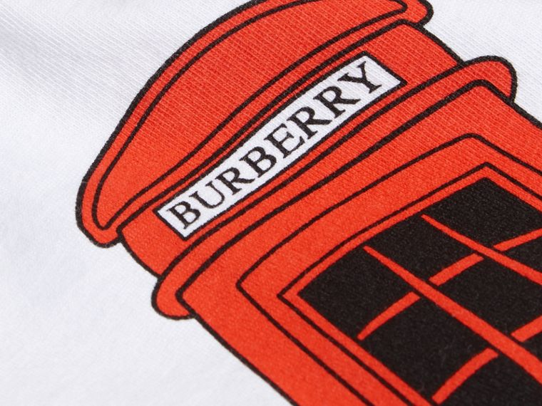 White Rocket Telephone Box Print Cotton T-shirt - cell image 1