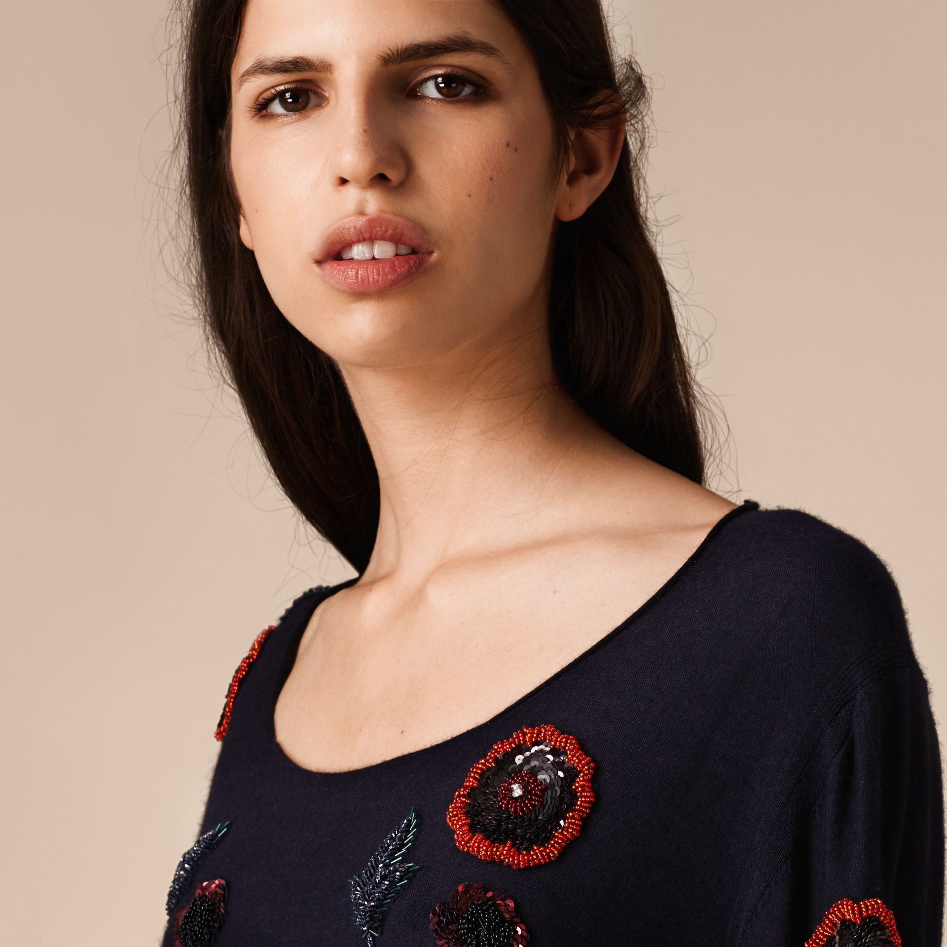Navy Wool Blend Sweater with Hand-sewn Beads - gallery image 5