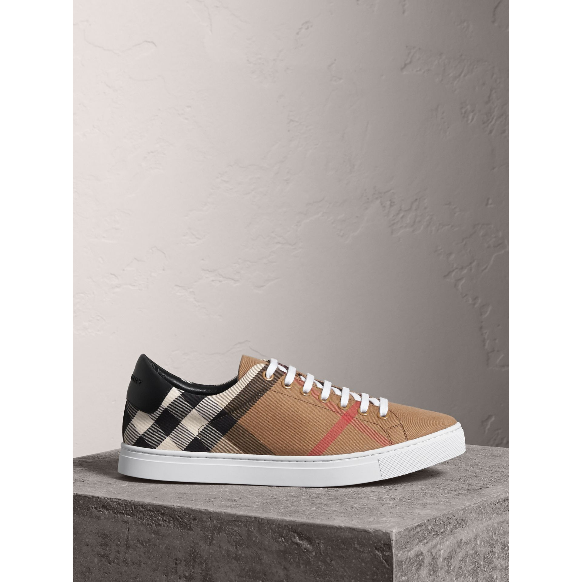 House Check Cotton and Leather Trainers in Check/black - Men | Burberry - gallery image 0