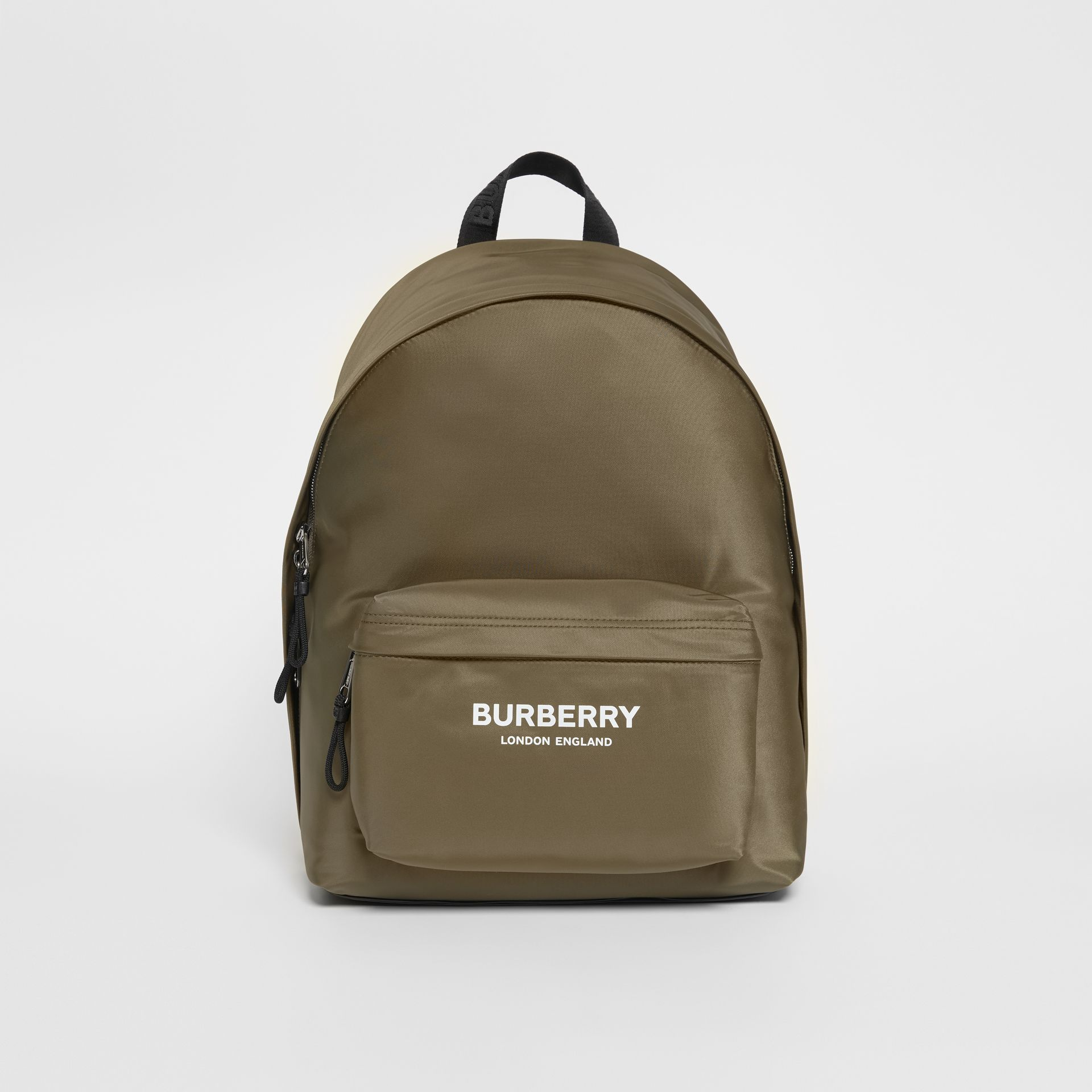 Logo Print Nylon Backpack in Canvas Green - Men | Burberry United Kingdom - gallery image 0