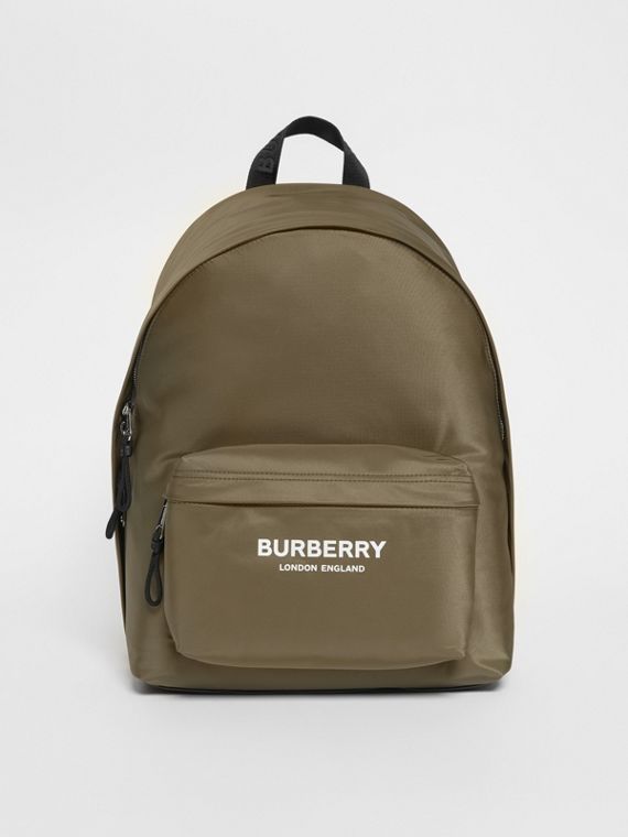Logo Print Nylon Backpack in Canvas Green