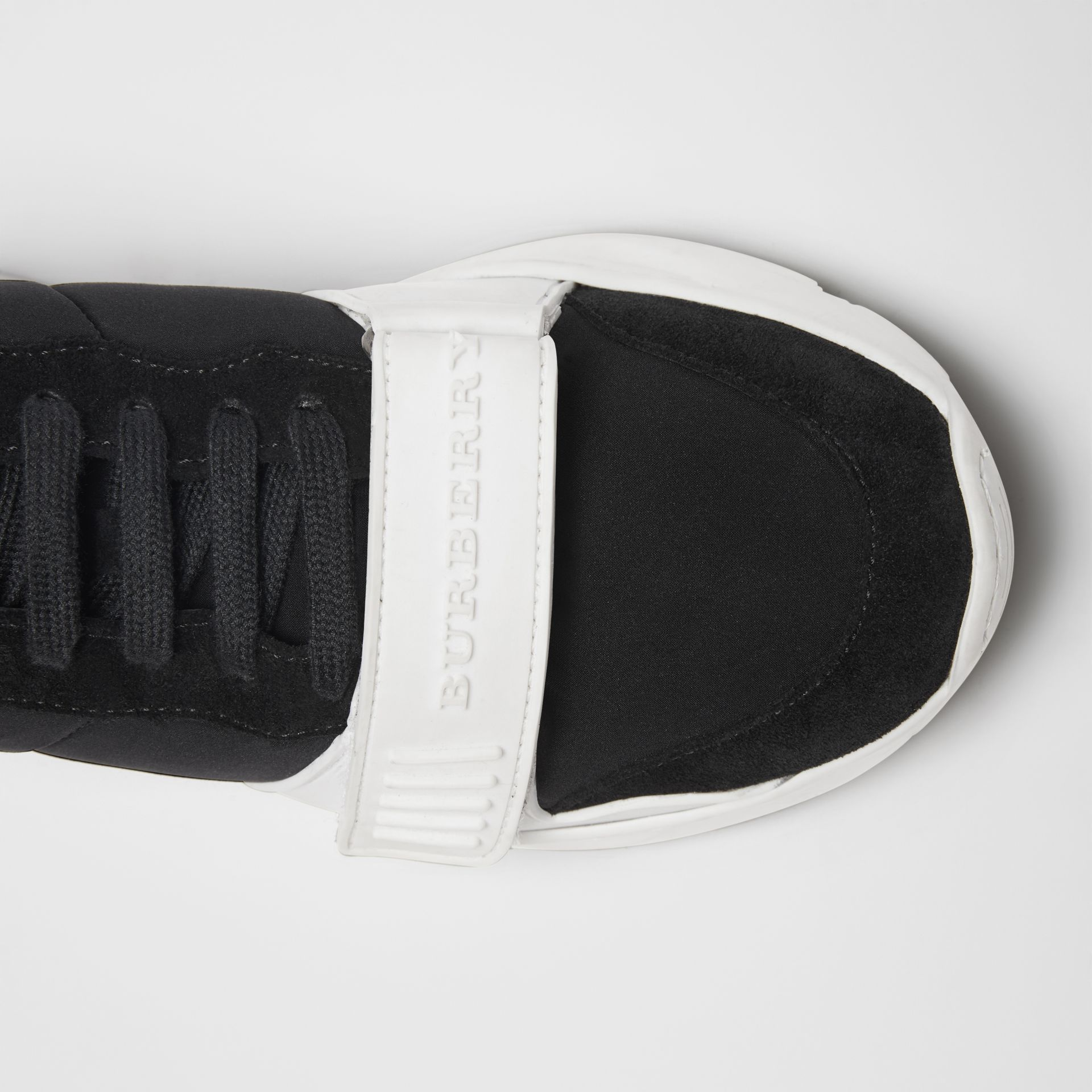Suede, Neoprene and Leather Sneakers in Black/optic White - Women | Burberry - gallery image 1