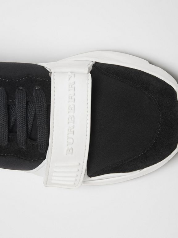 Suede, Neoprene and Leather Sneakers in Black/optic White - Women | Burberry Hong Kong - cell image 1