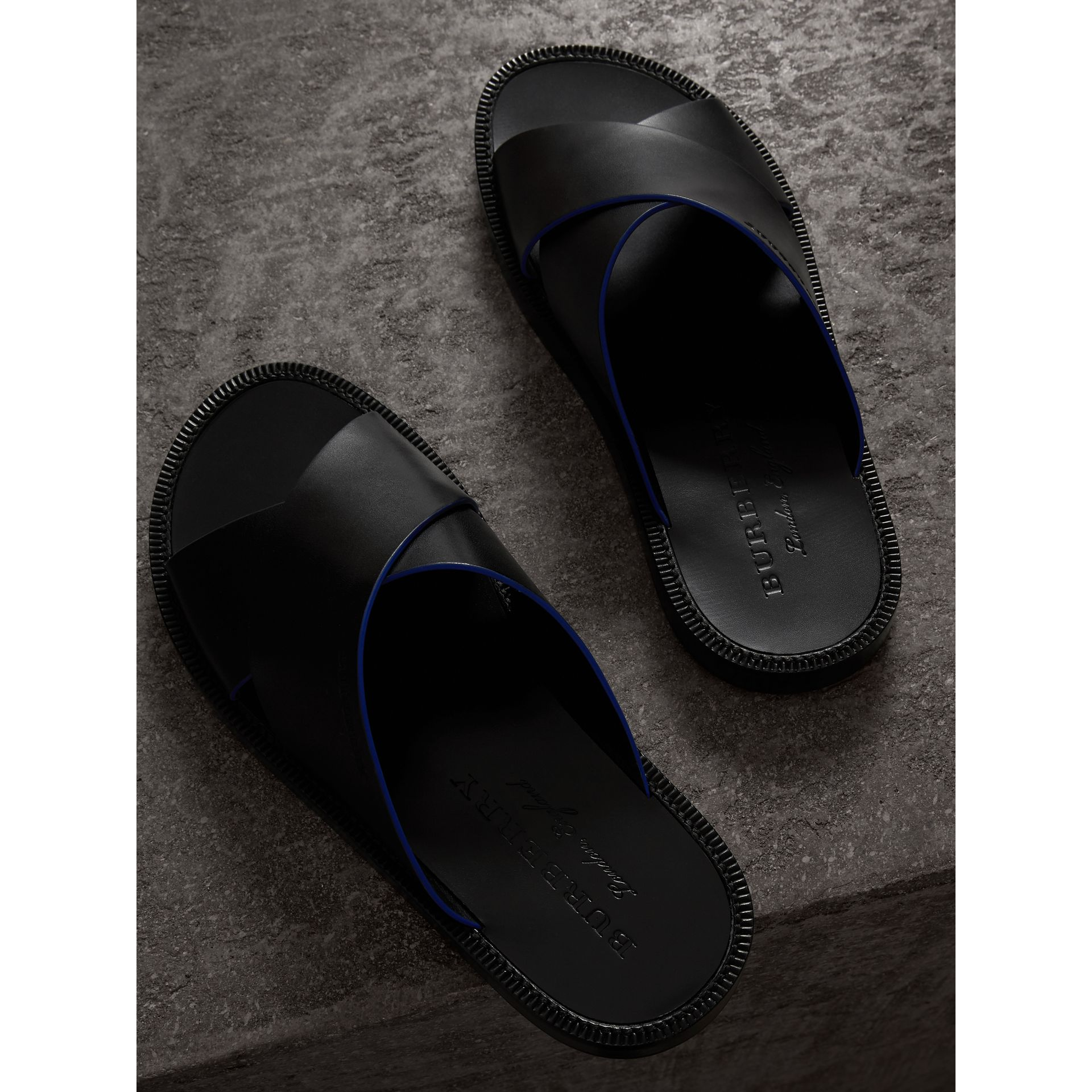 Contrast Detail Leather Sandals in Black - Men | Burberry - gallery image 3