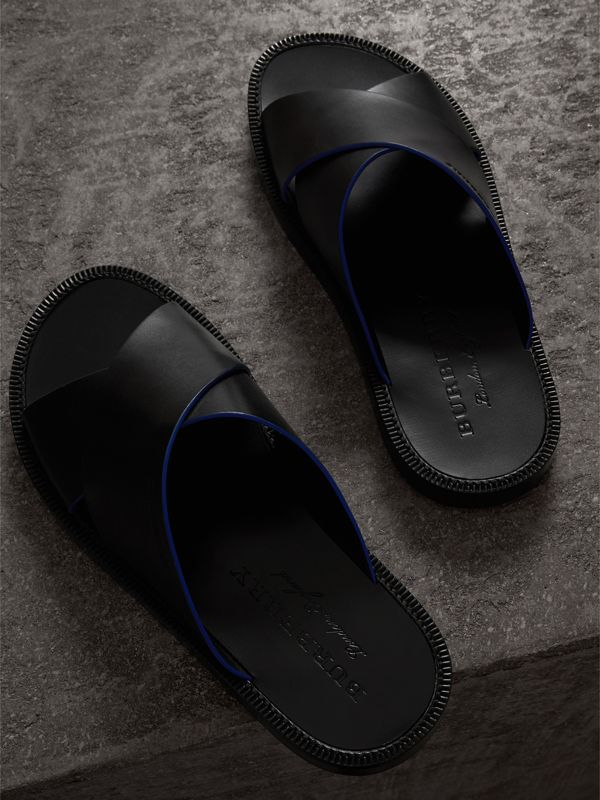 Contrast Detail Leather Sandals in Black - Men | Burberry - cell image 3