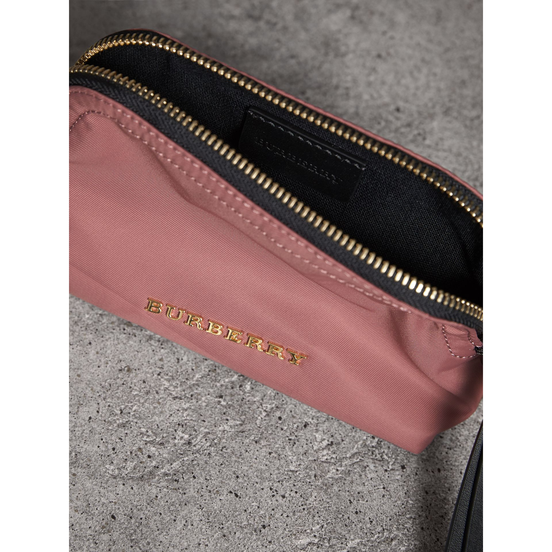Small Zip-top Technical Nylon Pouch in Mauve Pink - Women | Burberry - gallery image 4