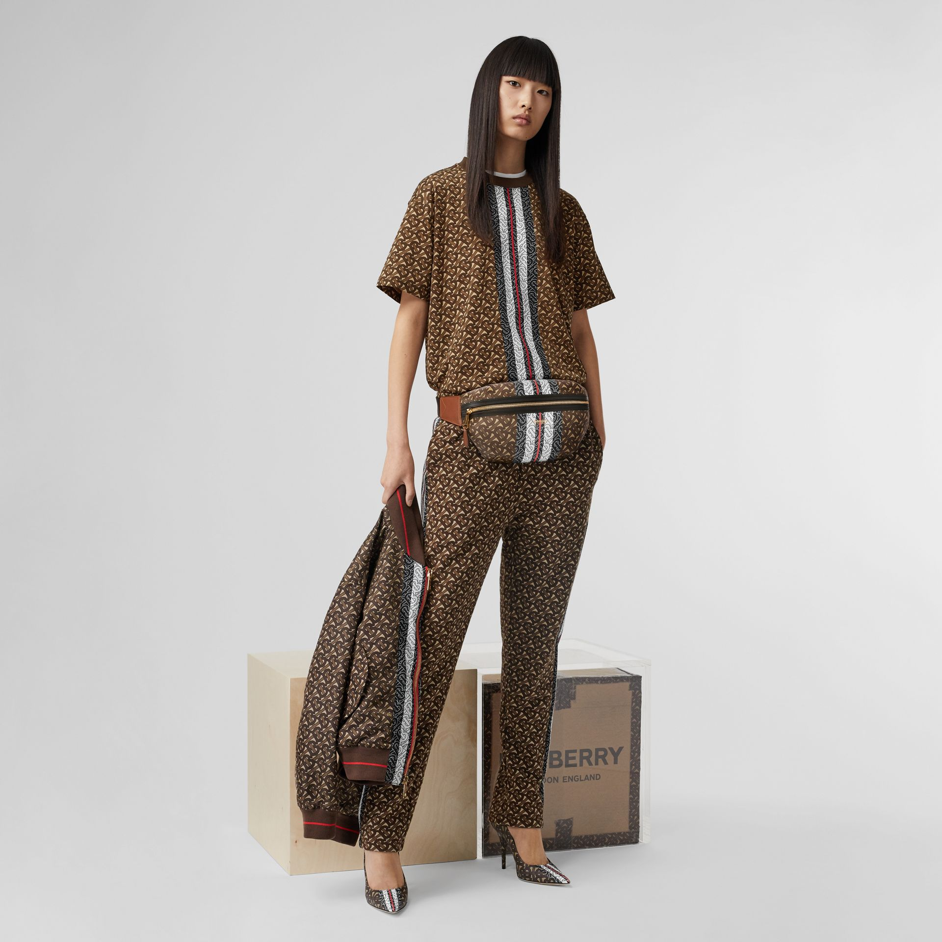 Medium Monogram Stripe E-canvas Bum Bag in Brown | Burberry Singapore - gallery image 10