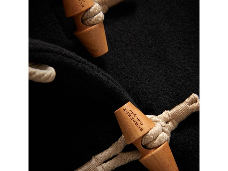 Detachable Hood Down-filled Wool Blend Duffle Coat in Black | Burberry Canada - cell image 1