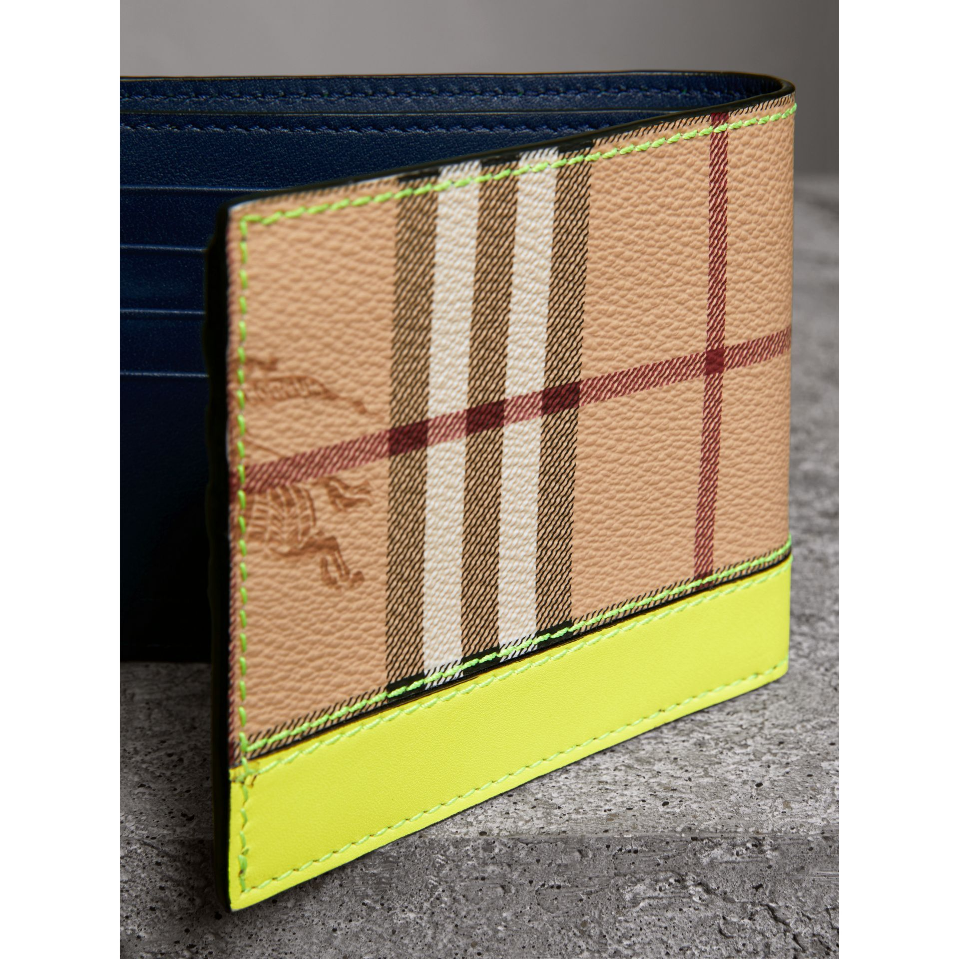 Haymarket Check International Bifold Wallet in Bright Yellow - Men | Burberry - gallery image 2