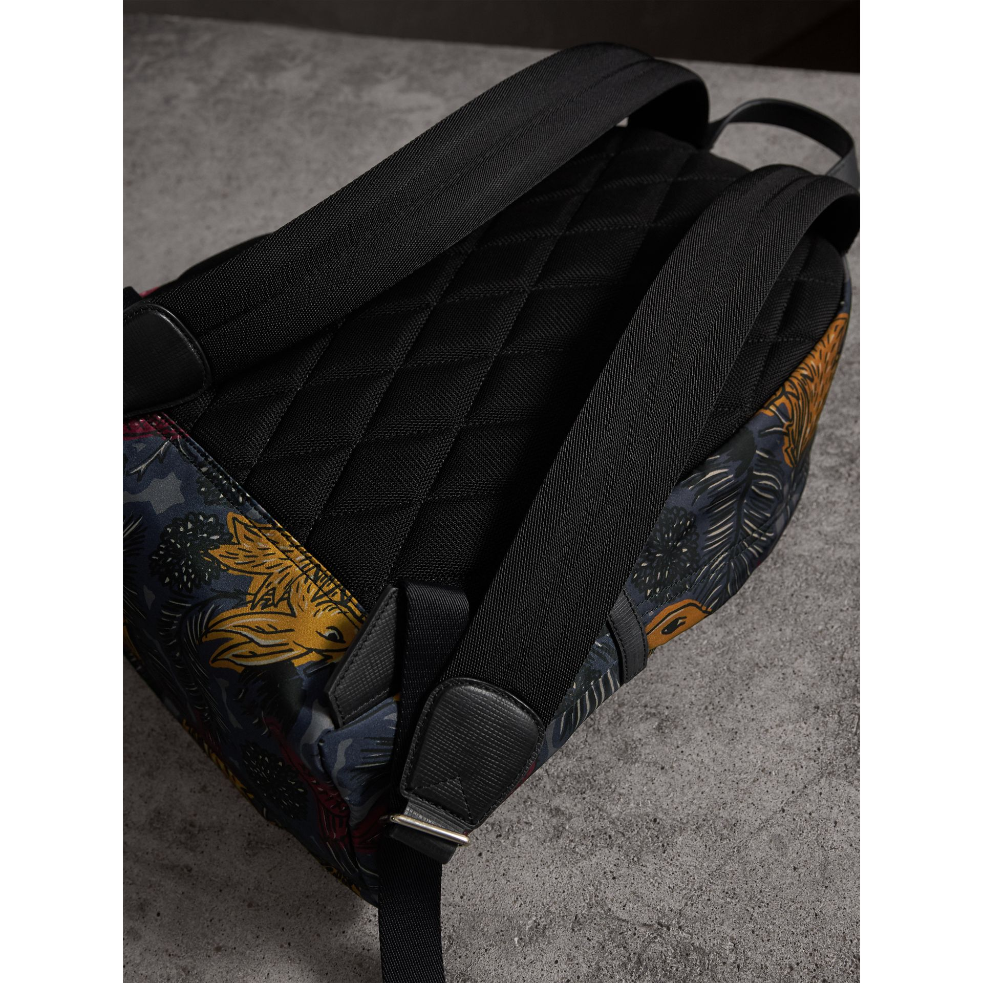 Leather Trim Beasts Print Backpack - Men | Burberry - gallery image 4