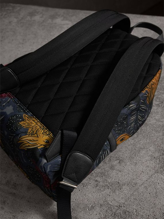 Leather Trim Beasts Print Backpack in Navy Grey - Men | Burberry - cell image 3