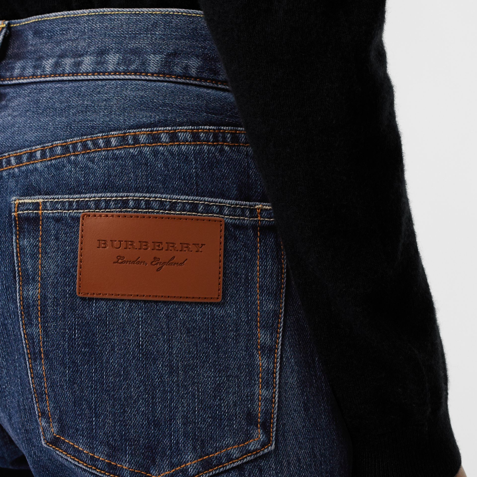 Straight Fit Japanese Selvedge Denim Jeans in Blue - Women | Burberry - gallery image 4