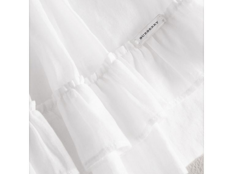 Smocked Cotton Shirt in White - Girl | Burberry - cell image 1