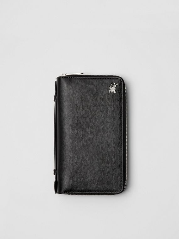 Leather Travel Wallet in Black