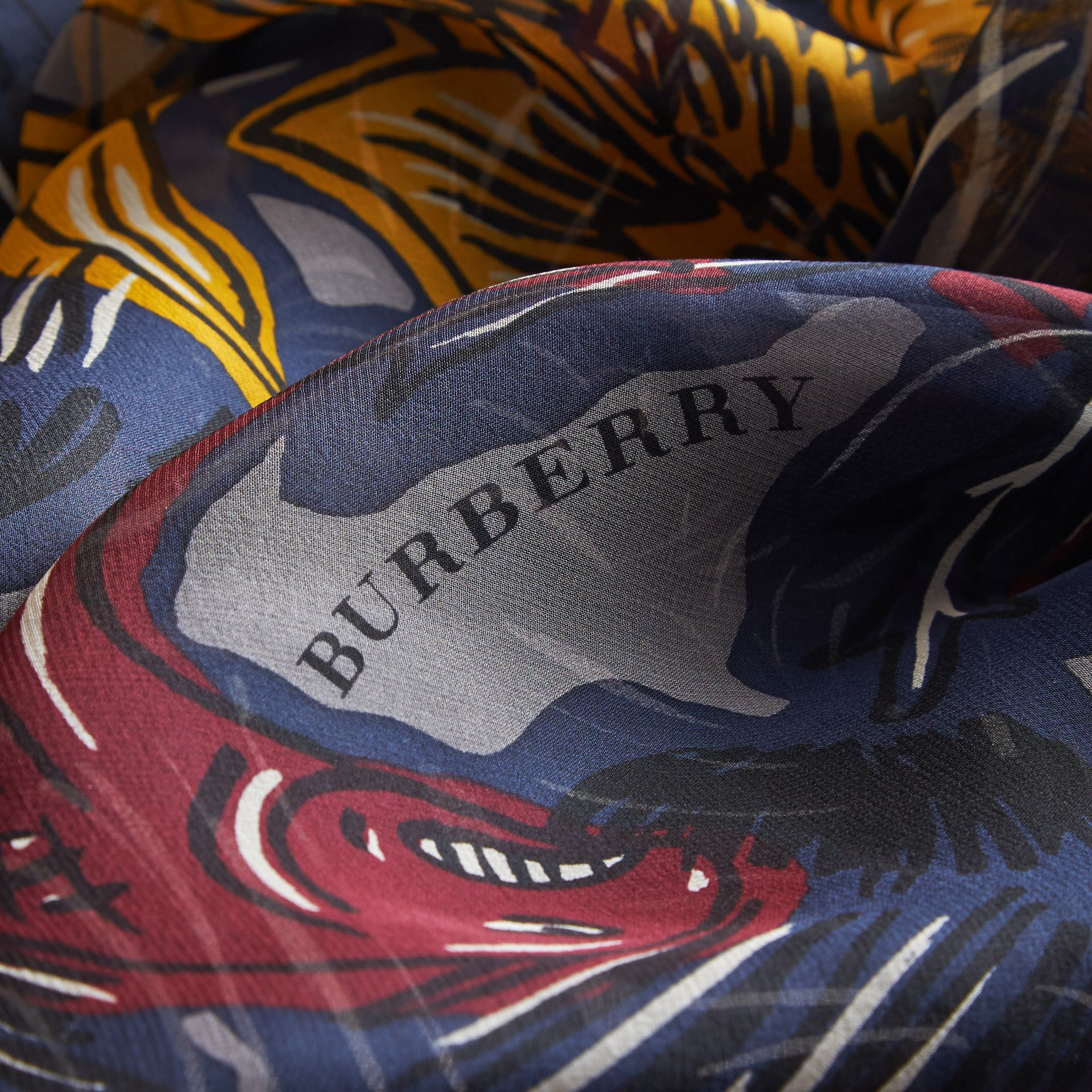 Beasts Print Lightweight Silk Scarf in Navy Grey - Women | Burberry - gallery image 2