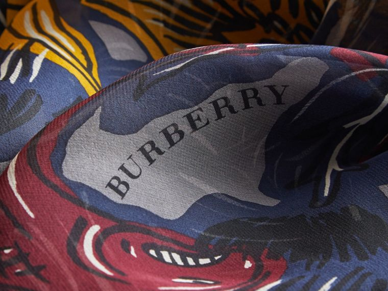 Beasts Print Lightweight Silk Scarf in Navy Grey - Women | Burberry - cell image 1