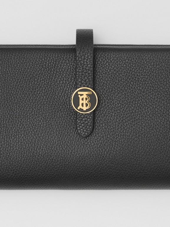 Monogram Motif Grainy Leather Folding Wallet in Black - Women   Burberry United Kingdom - cell image 1