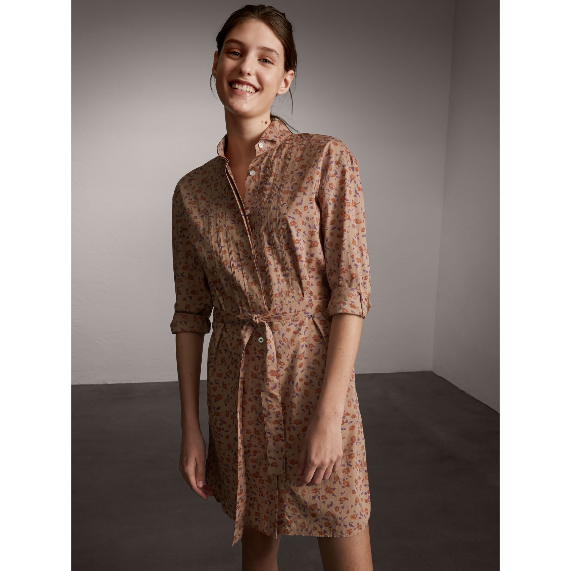 Tie-waist Floral Print Cotton Shirt Dress in Light Copper - Women | Burberry - gallery image 1