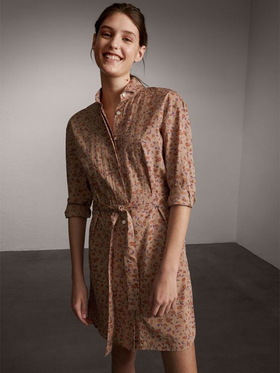 Tie-waist Floral Print Cotton Shirt Dress - Women | Burberry