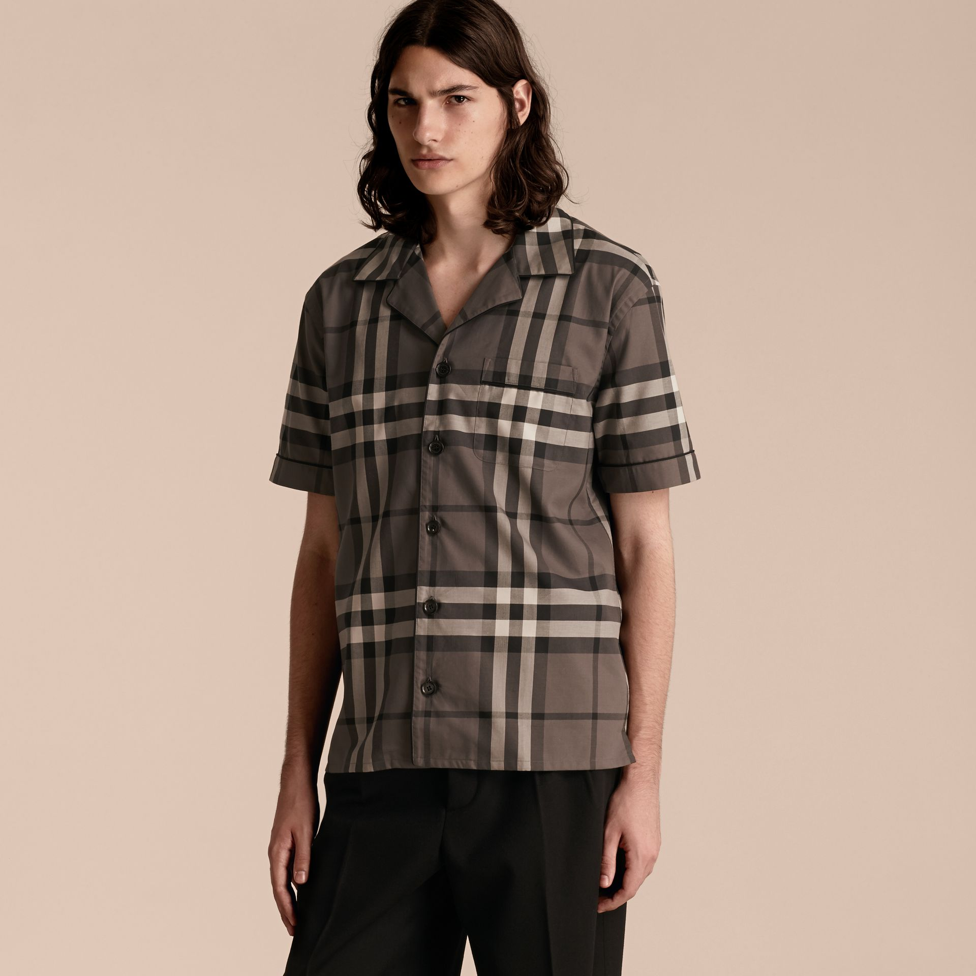 Charcoal Short-sleeved Check Cotton Pyjama-style Shirt - gallery image 6