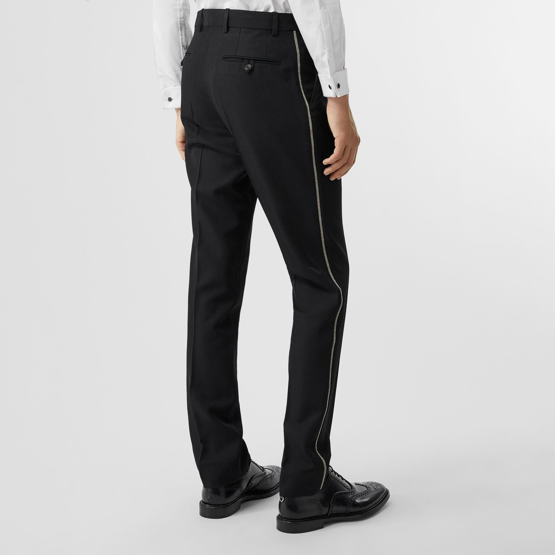 Soho Fit Bullion Stripe Wool Twill Tailored Trousers in Black - Men | Burberry Australia - gallery image 2