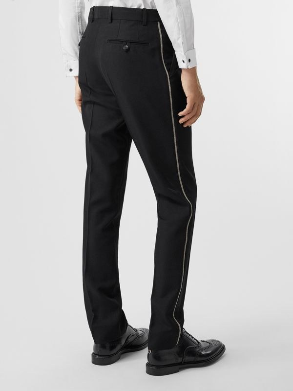 Soho Fit Bullion Stripe Wool Twill Tailored Trousers in Black - Men | Burberry Australia - cell image 2
