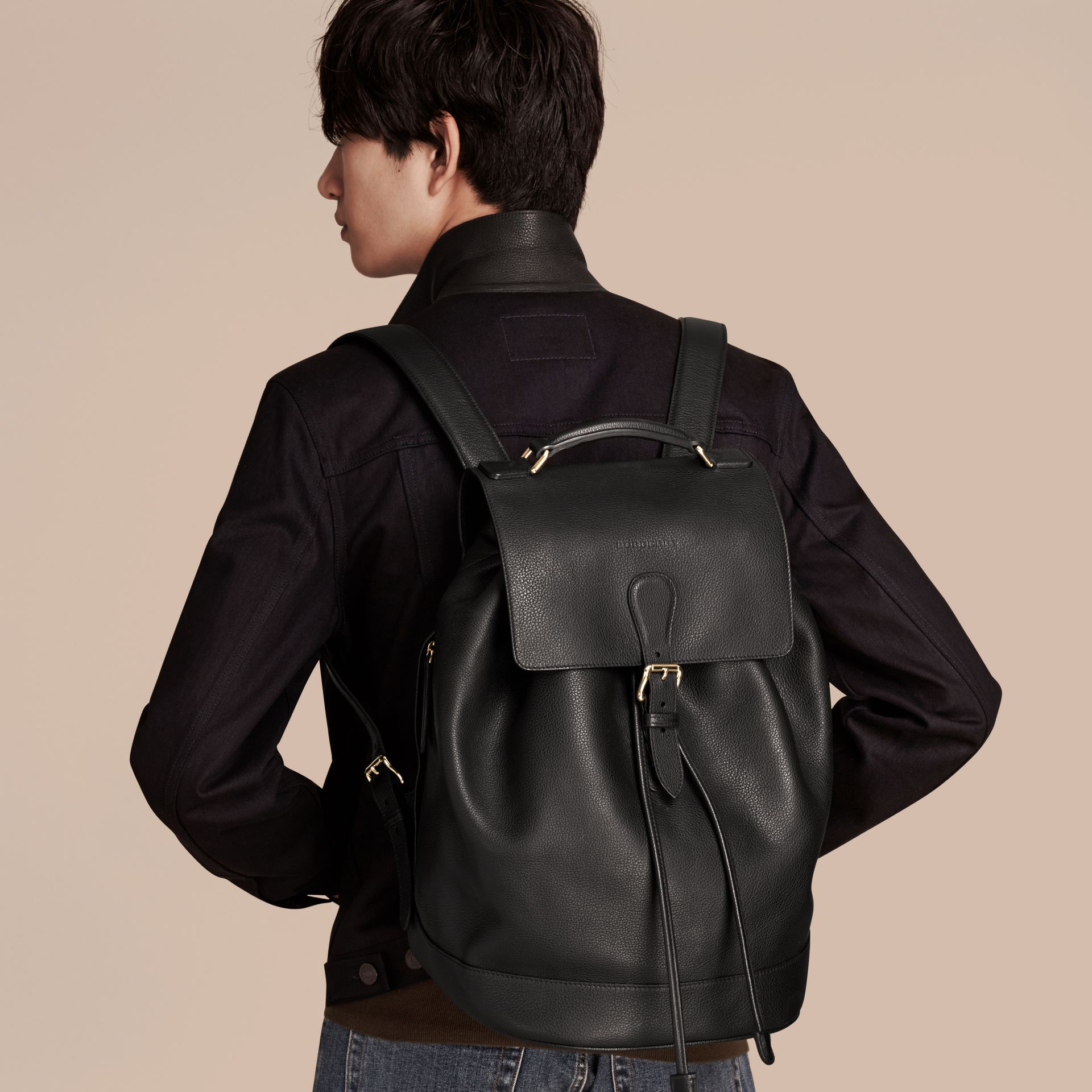 Black Grainy Leather Backpack Black - gallery image 3