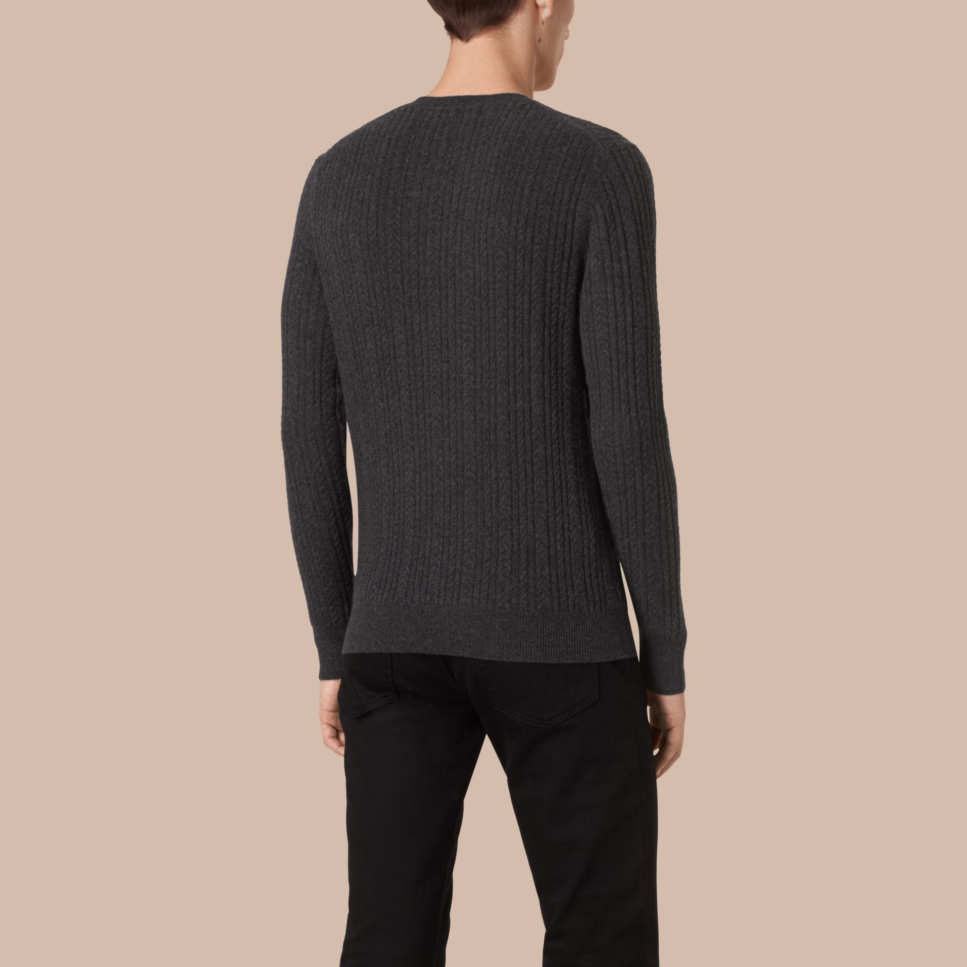 Charcoal Aran Knit Cashmere Sweater Charcoal - gallery image 3