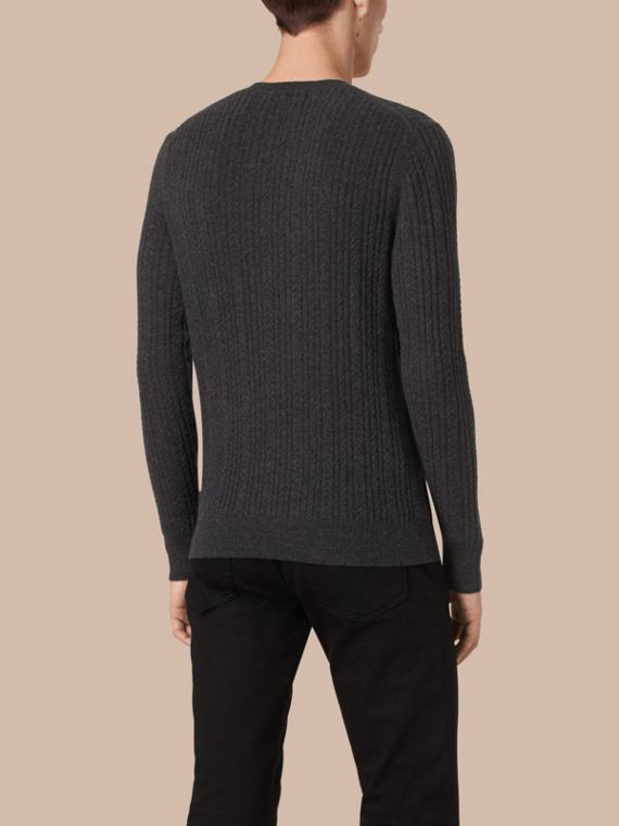 Charcoal Aran Knit Cashmere Sweater Charcoal - cell image 2