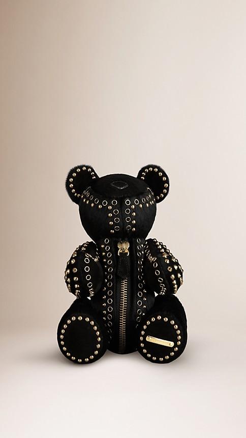 Black Thomas Bear in Studded Calfskin - Image 1
