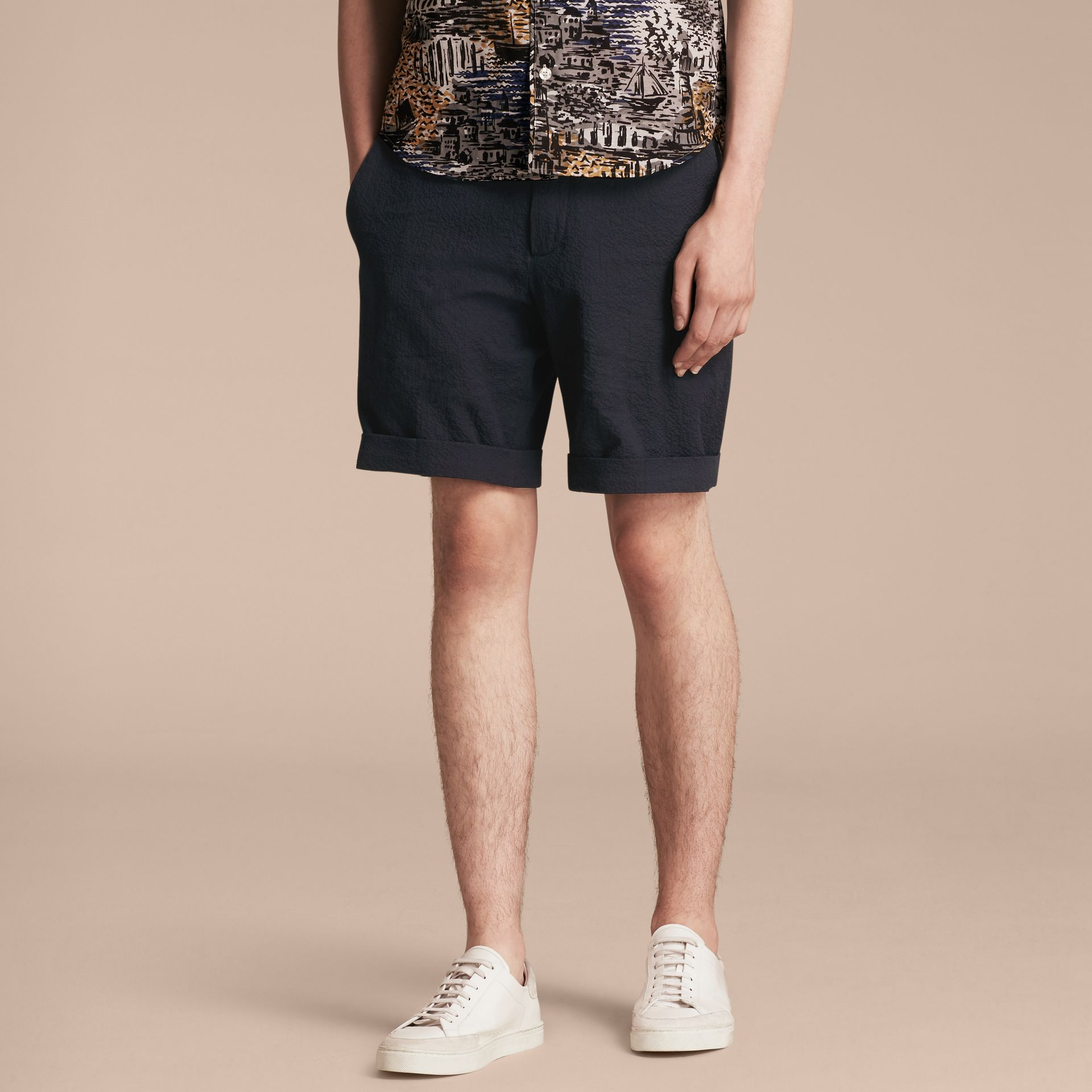Tailored Stretch Cotton Shorts Navy - gallery image 6