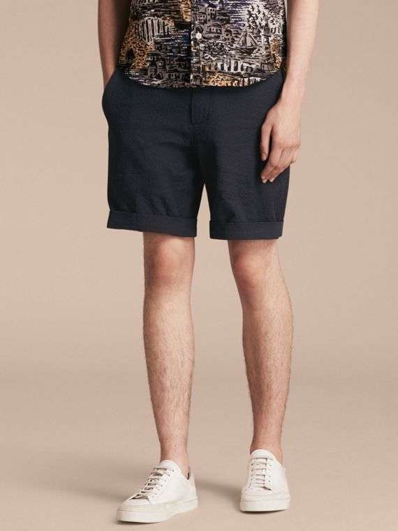 Tailored Stretch Cotton Shorts Navy