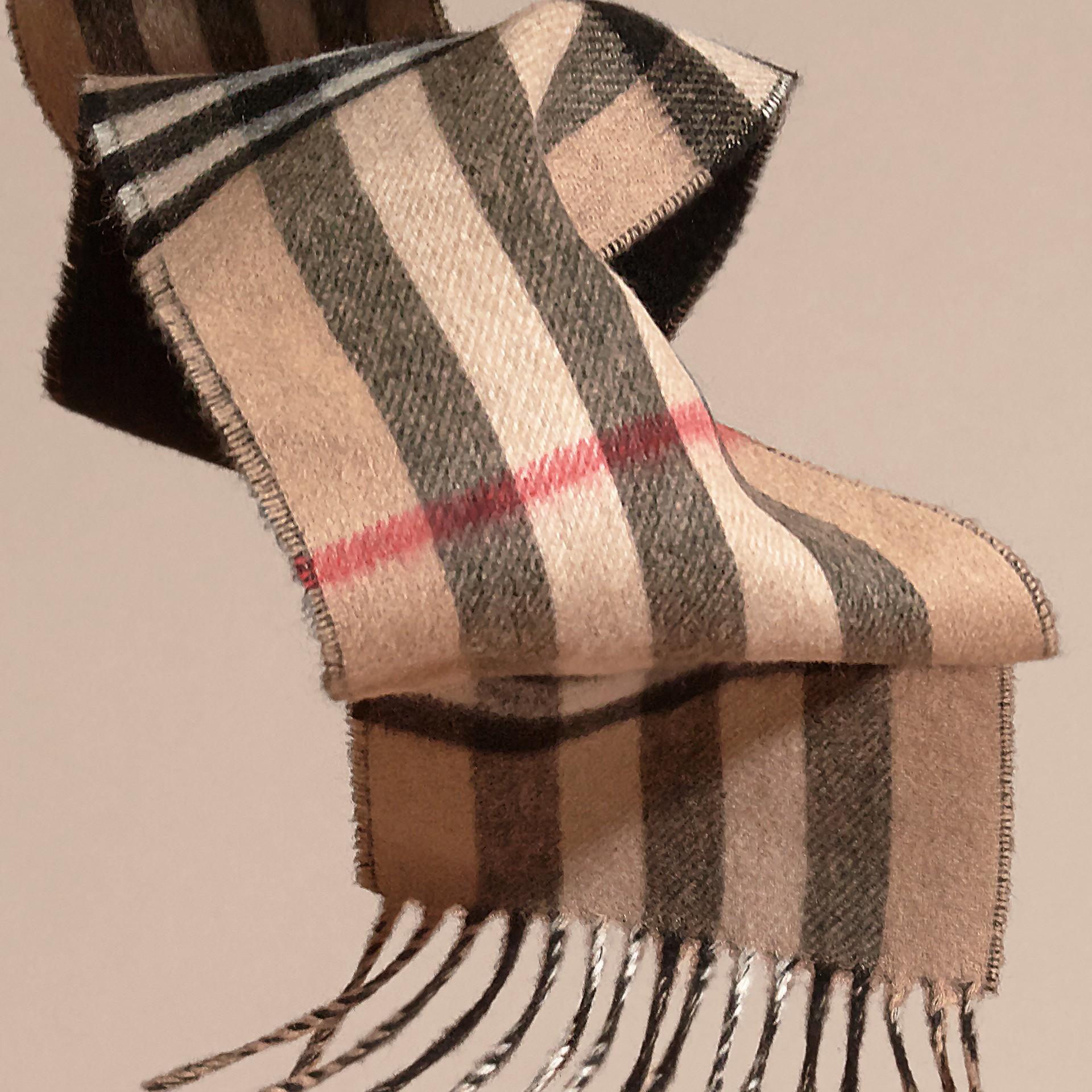 Cammello/nero Sciarpa double face sottile in cashmere con motivo check Cammello/nero - immagine della galleria 4