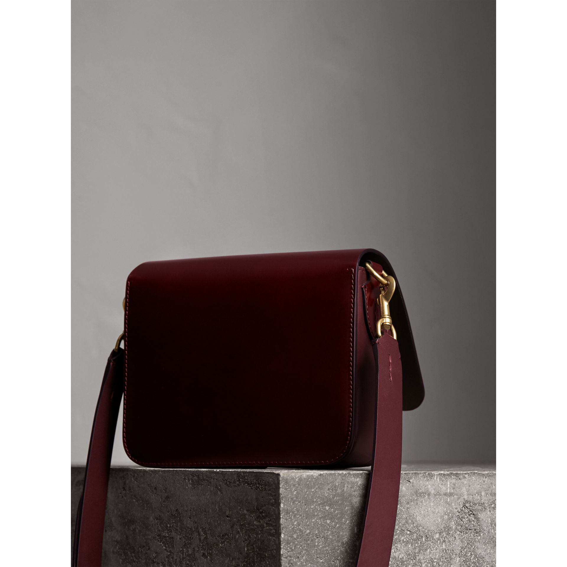 The Square Satchel in Bridle Leather in Deep Claret - Women | Burberry United Kingdom - gallery image 3