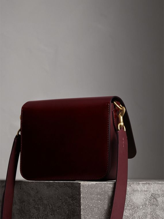 The Square Satchel in Bridle Leather in Deep Claret - Women | Burberry Australia - cell image 3