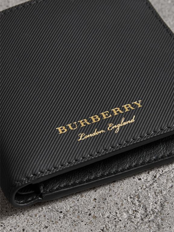 Trench Leather Bifold Wallet with Removable Card Case in Black - Men | Burberry - cell image 1