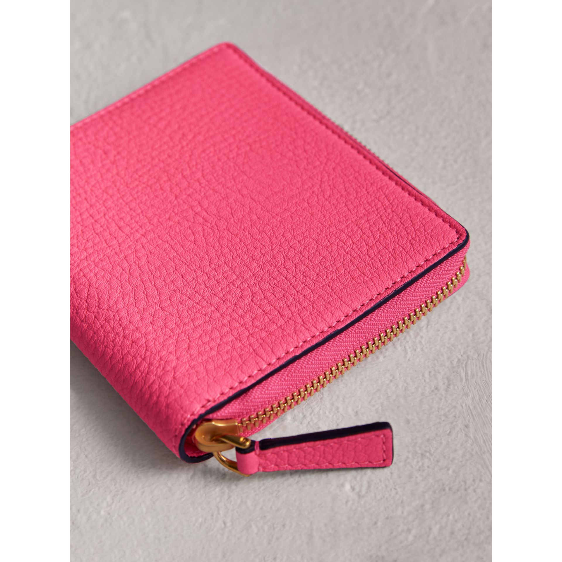 Embossed Grainy Leather Ziparound A6 Notebook Case in Bright Pink | Burberry - gallery image 2