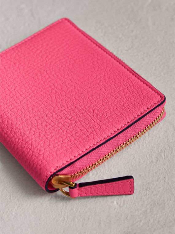 Embossed Grainy Leather Ziparound A6 Notebook Case in Bright Pink | Burberry Singapore - cell image 2