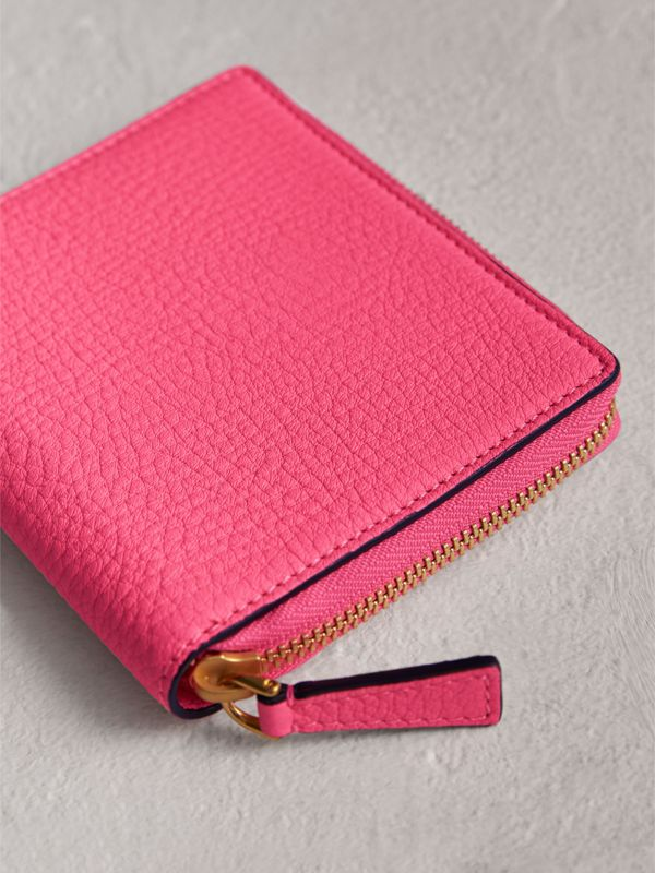 Embossed Grainy Leather Ziparound A6 Notebook Case in Bright Pink | Burberry - cell image 2