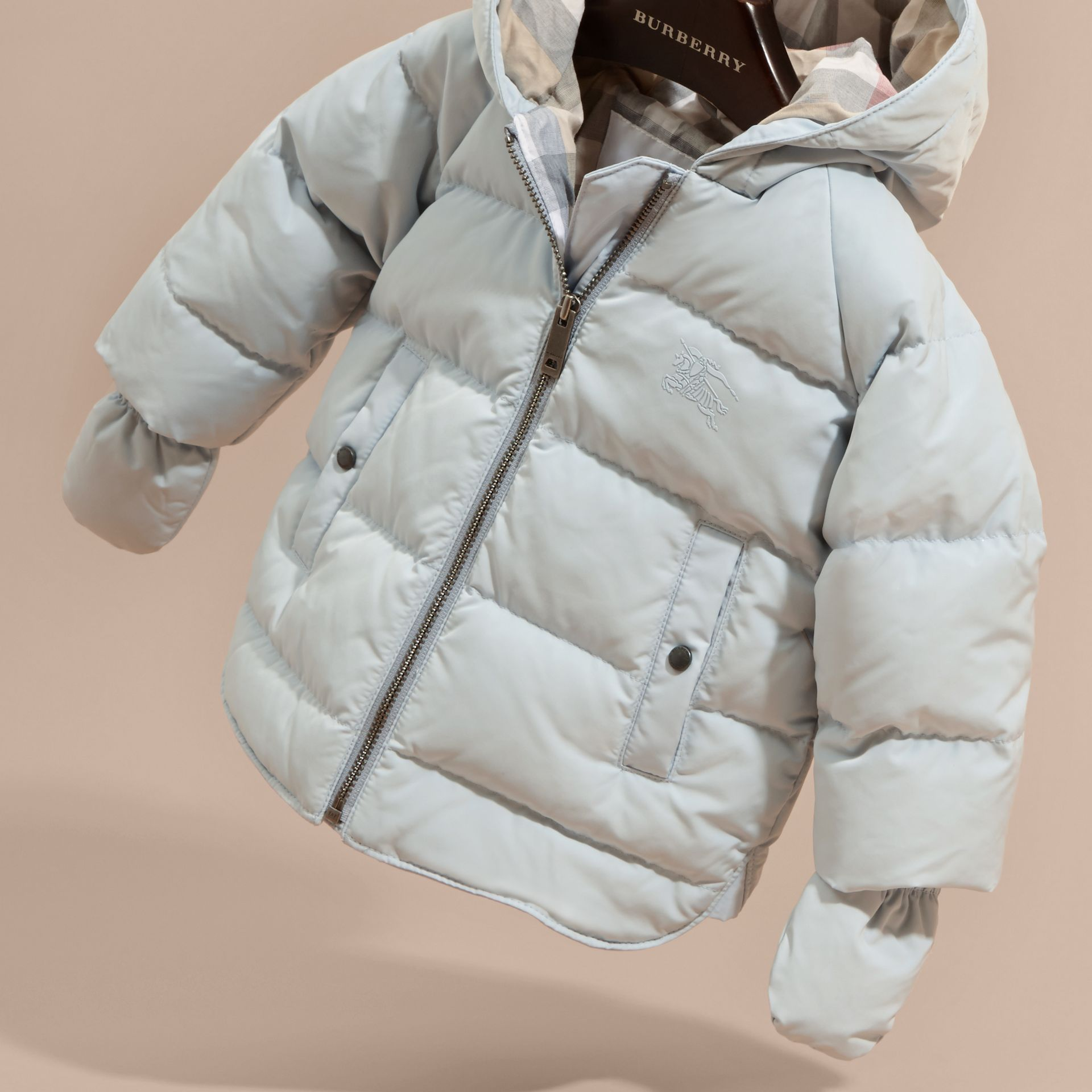 Ice blue Hooded Down-filled Puffer Jacket with Mittens Ice Blue - gallery image 3