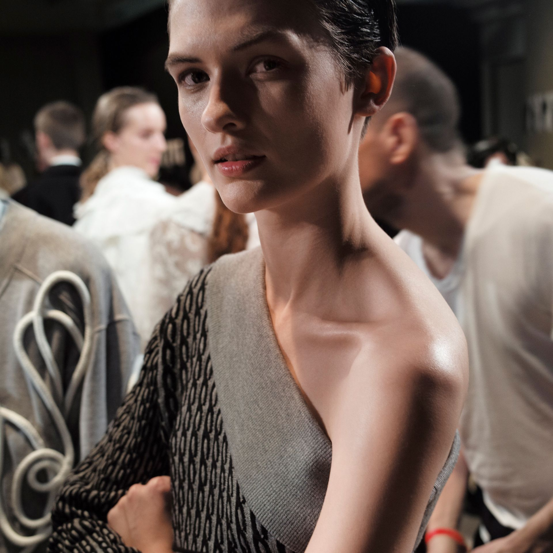 One-shoulder Cable Knit Wool Blend Dress in Grey Melange/black - Women | Burberry - gallery image 4
