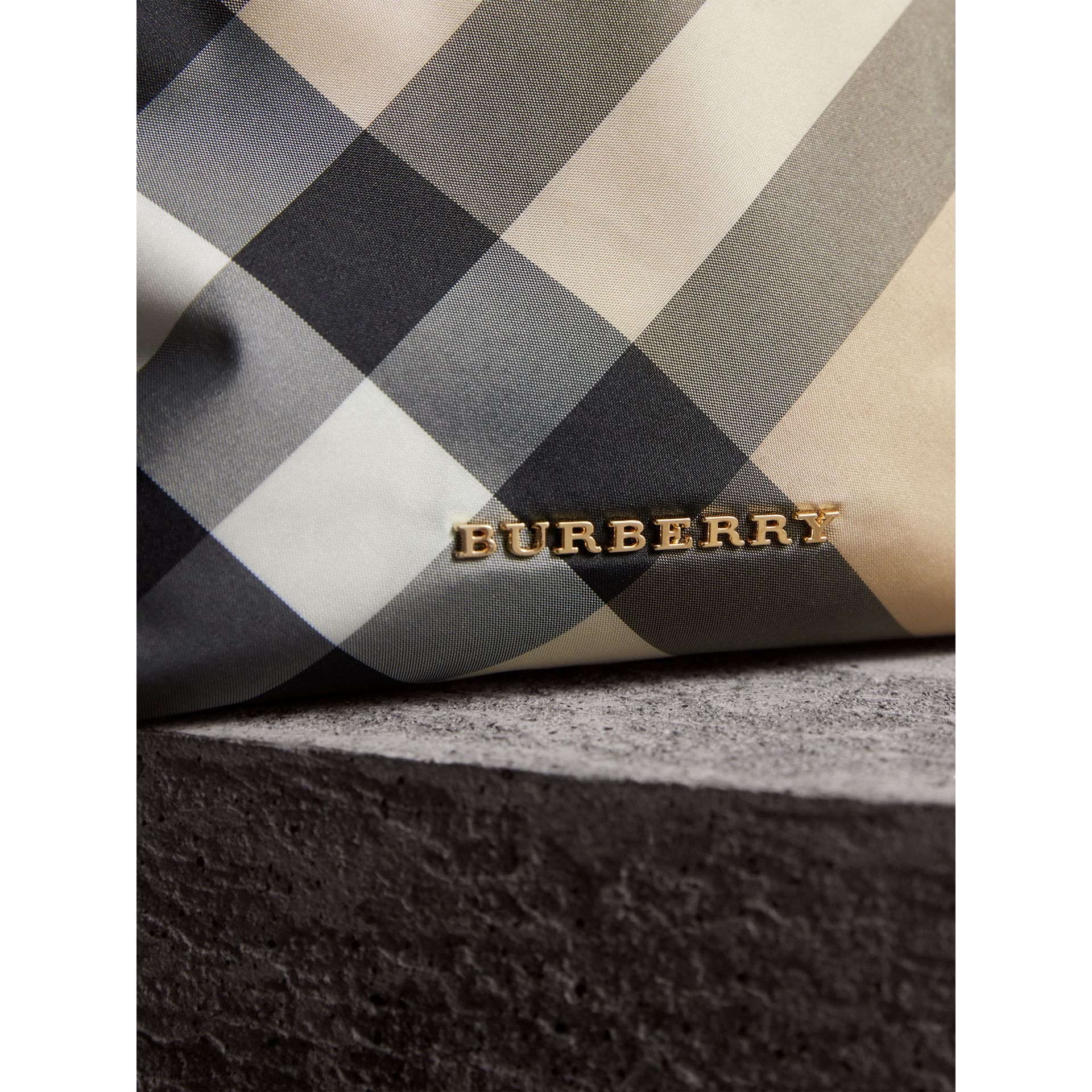 Medium Zip-top Check Technical Pouch in Camel - Women | Burberry - gallery image 2