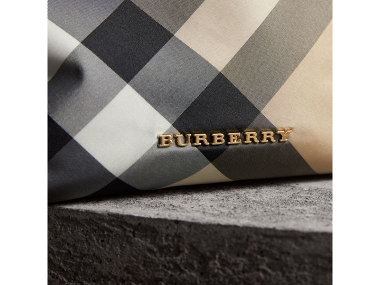 Medium Zip-top Check Technical Pouch in Camel - Women | Burberry - cell image 1