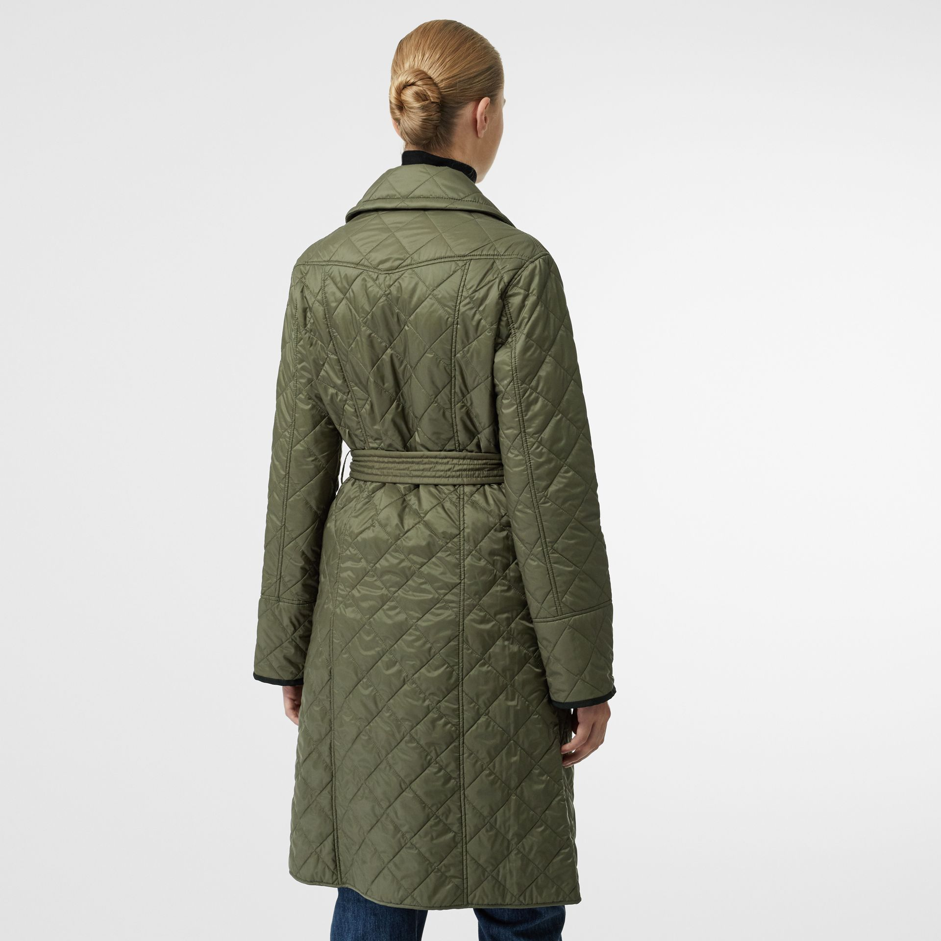 Lightweight Diamond Quilted Coat in Cadet Green - Women | Burberry - gallery image 2