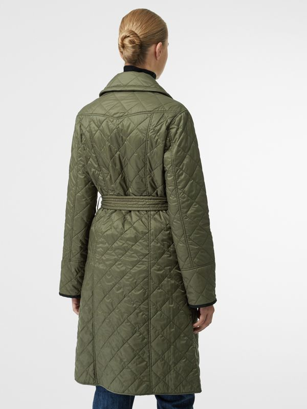 Lightweight Diamond Quilted Coat in Cadet Green - Women | Burberry - cell image 2
