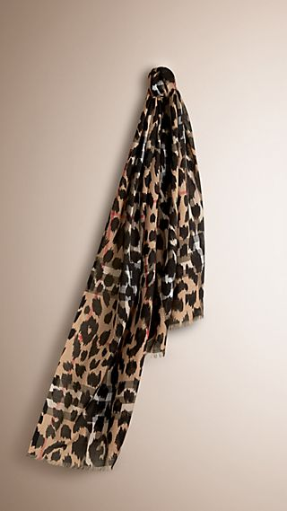 Animal Print and Check Wool Silk Scarf