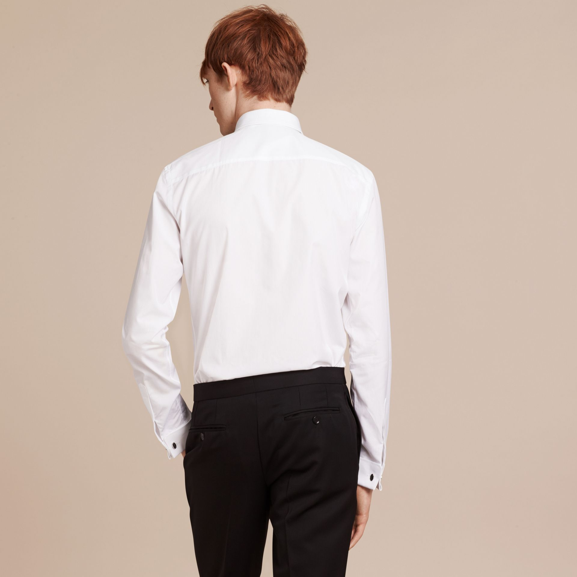 White Slim Fit Double Cuff Cotton Poplin Shirt - gallery image 3