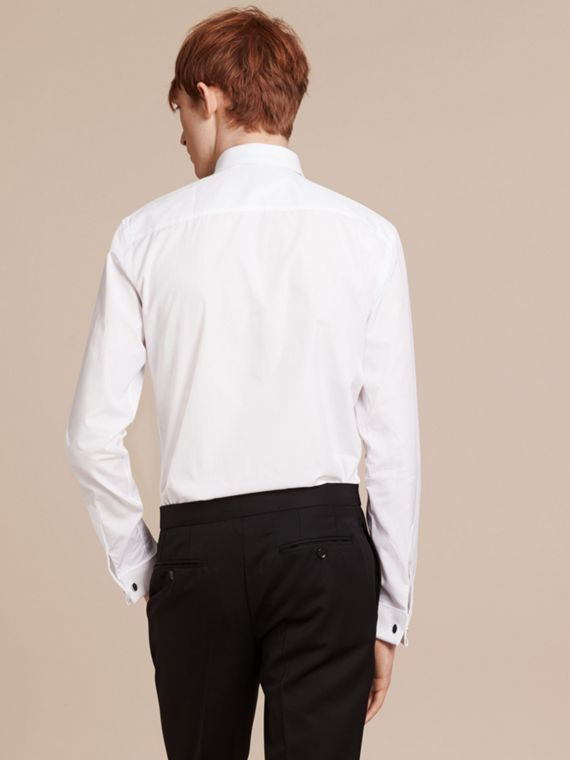 White Slim Fit Double Cuff Cotton Poplin Shirt - cell image 2
