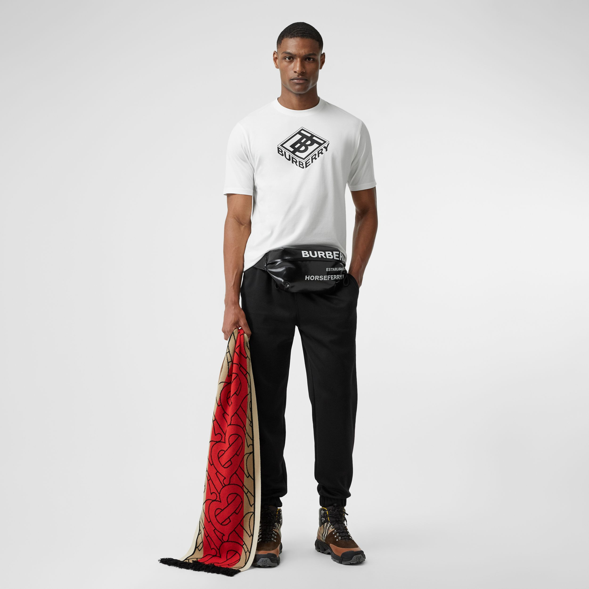 Logo Graphic Cotton T-shirt in White - Men | Burberry United States - 1